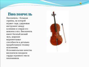 Виолончель Виолончель - большая скрипка, на которой играют сидя, удерживая ин