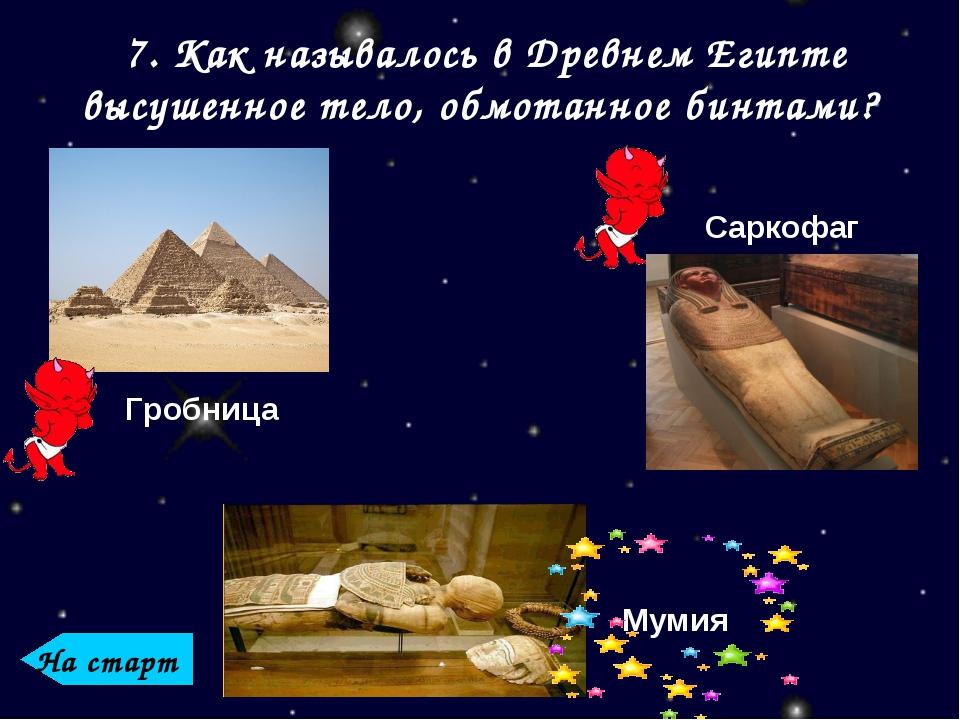 7. Как называлось в Древнем Египте высушенное тело, обмотанное бинтами? Гробн...