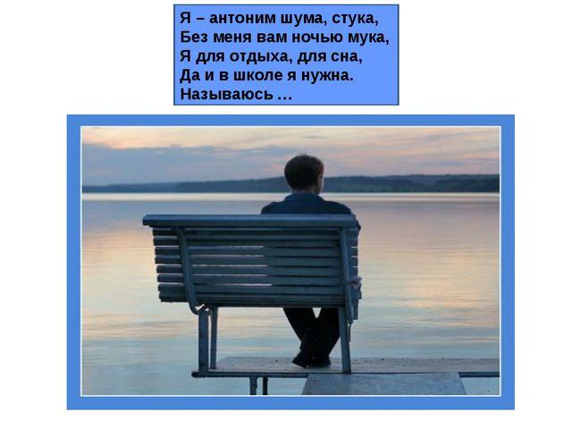 Я – антоним шума, стука, Без меня вам ночью мука, Я для отдыха, для сна, Да и...
