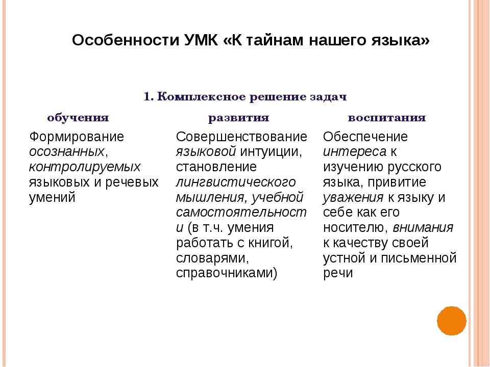 1. Комплексное решение задач обучения развития воспитания Особенности УМК...