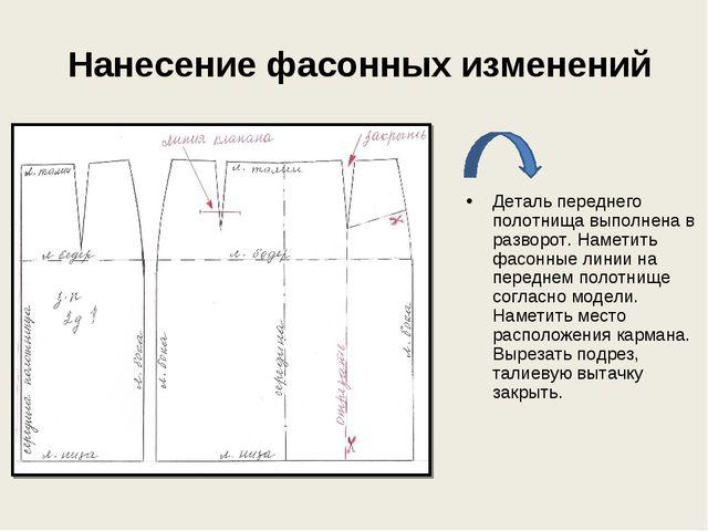 Нанесение фасонных изменений Деталь переднего полотнища выполнена в разворот...