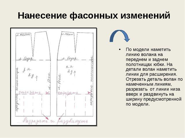 Нанесение фасонных изменений По модели наметить линию волана на переднем и з...