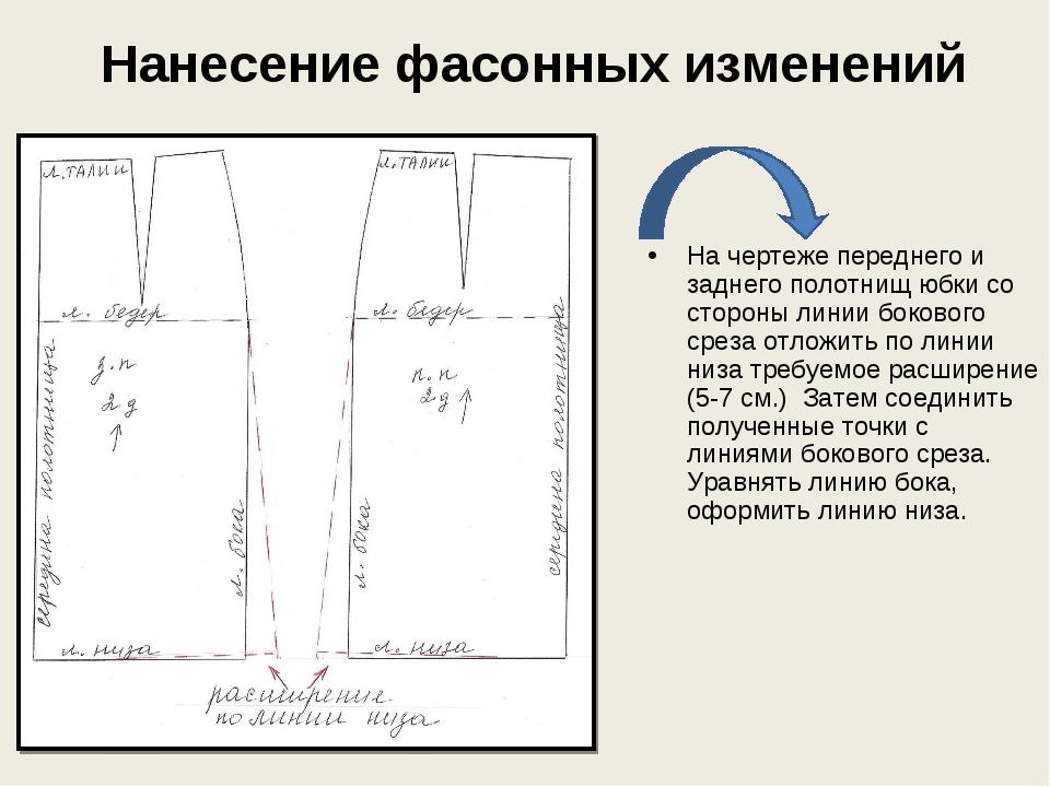 Нанесение фасонных изменений На чертеже переднего и заднего полотнищ юбки со...