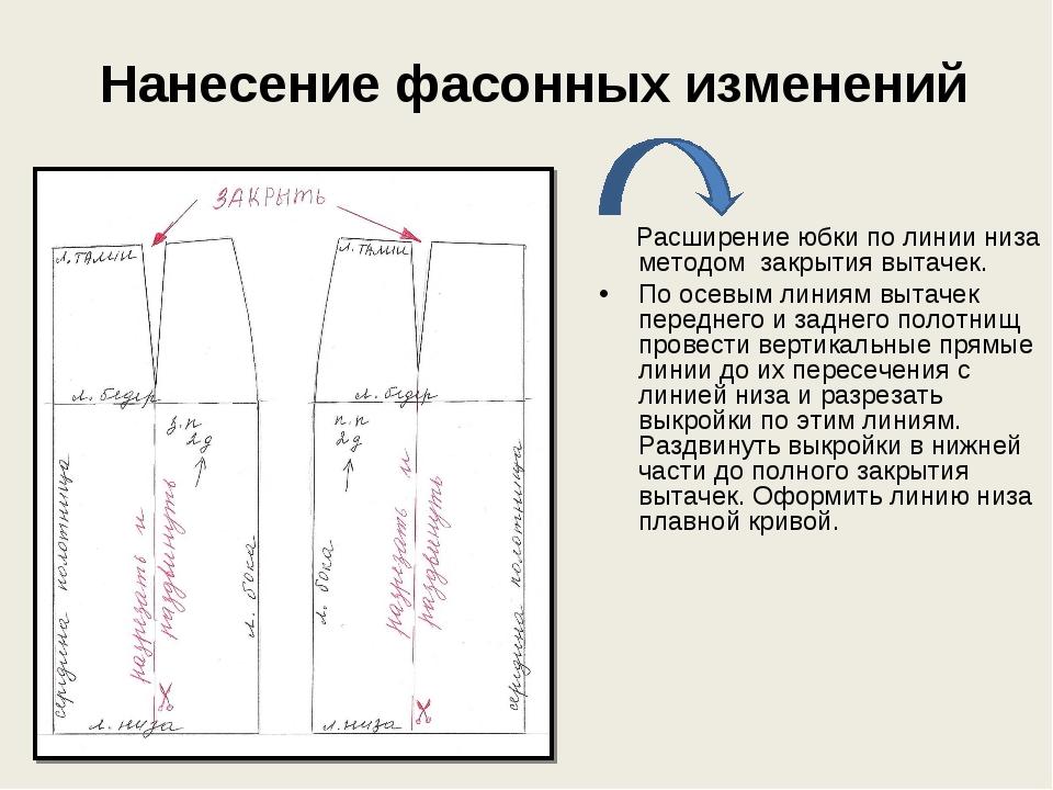 Нанесение фасонных изменений Расширение юбки по линии низа методом закрытия...