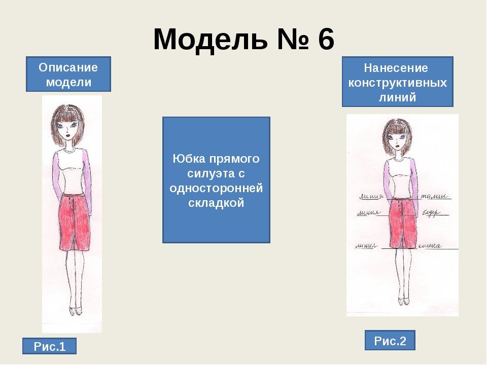 Модель № 6 Описание модели Нанесение конструктивных линий Рис.1 Рис.2 Юбка пр...