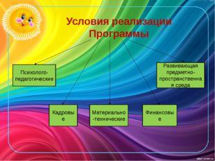 Условия реализации Программы Психолого-педагогические Кадровые Материально-те