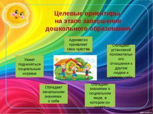 Целевые ориентиры на этапе завершения дошкольного образования Умеет подчинять