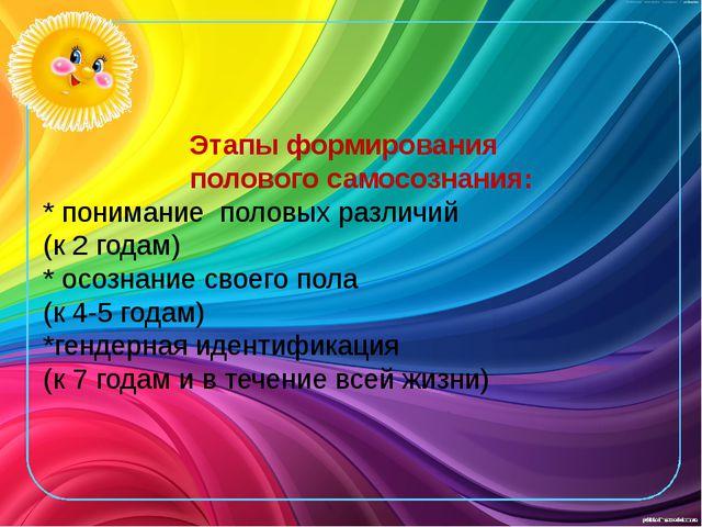 Этапы формирования полового самосознания: * понимание половых различий (к 2...