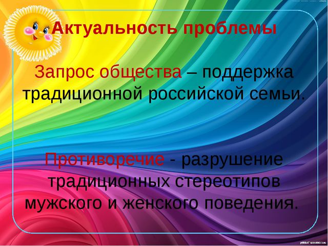 Актуальность проблемы Запрос общества – поддержка традиционной российской сем...