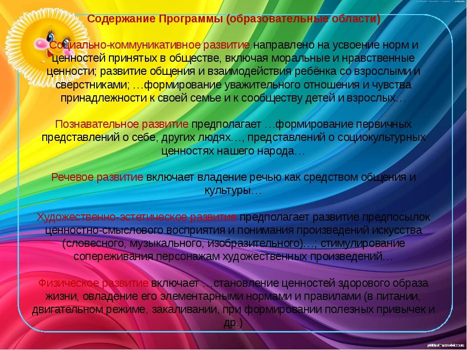 Содержание Программы (образовательные области) Социально-коммуникативное разв...
