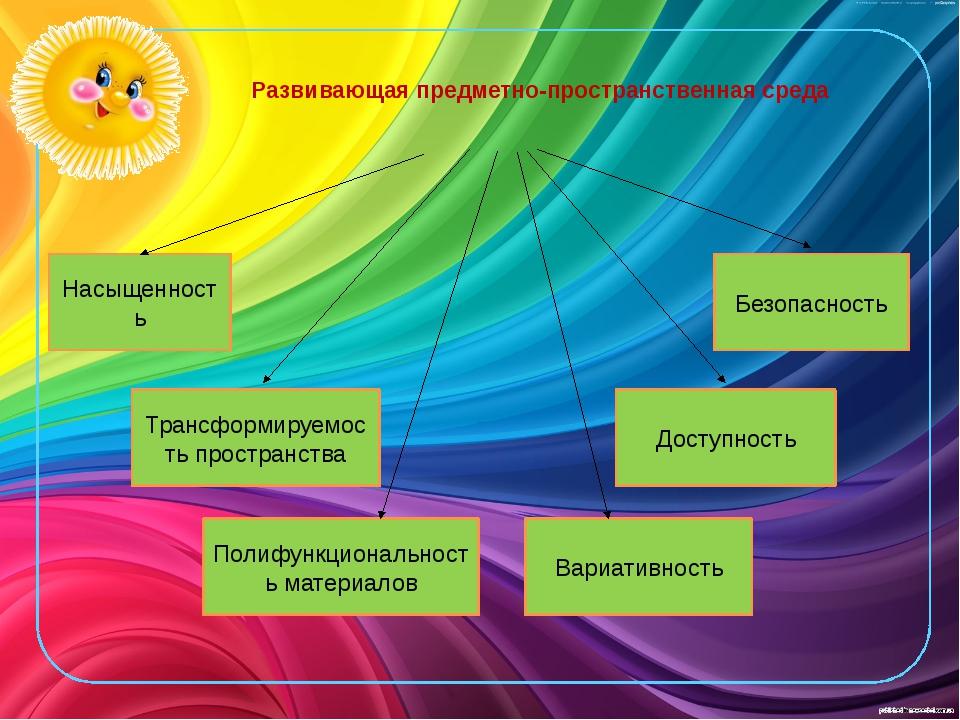 Развивающая предметно-пространственная среда Насыщенность Трансформируемость...