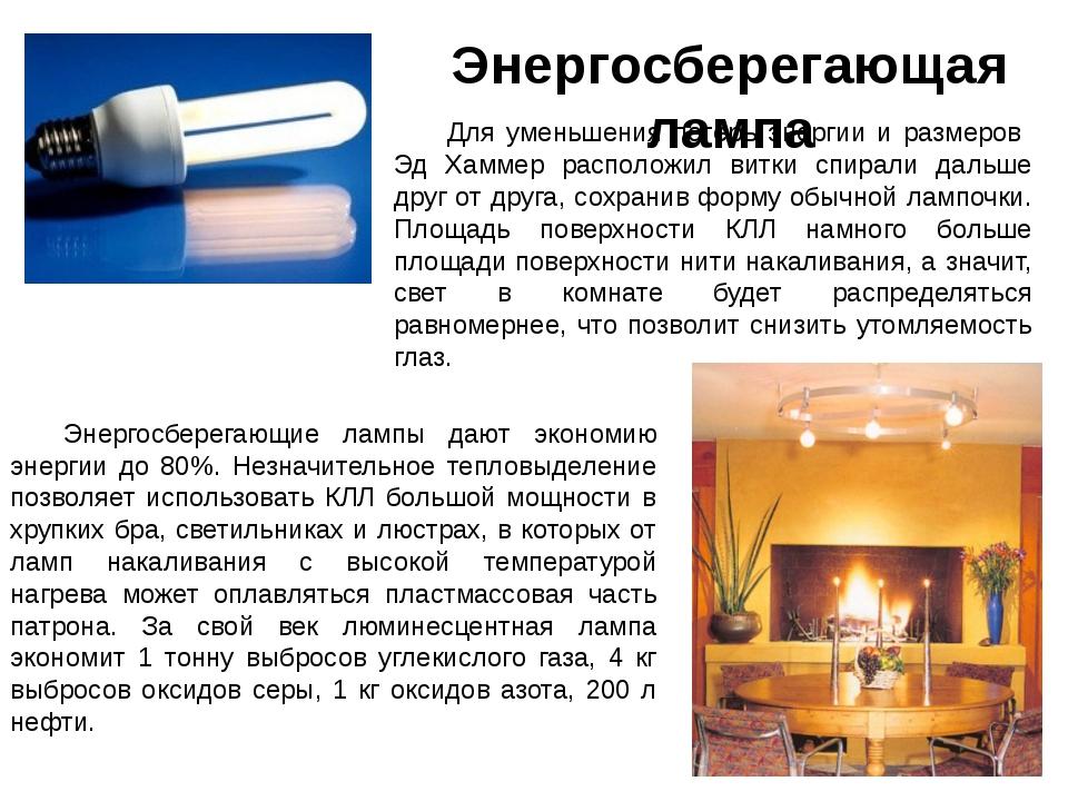 Энергосберегающая лампа Для уменьшения потерь энергии и размеров Эд Хаммер ра...