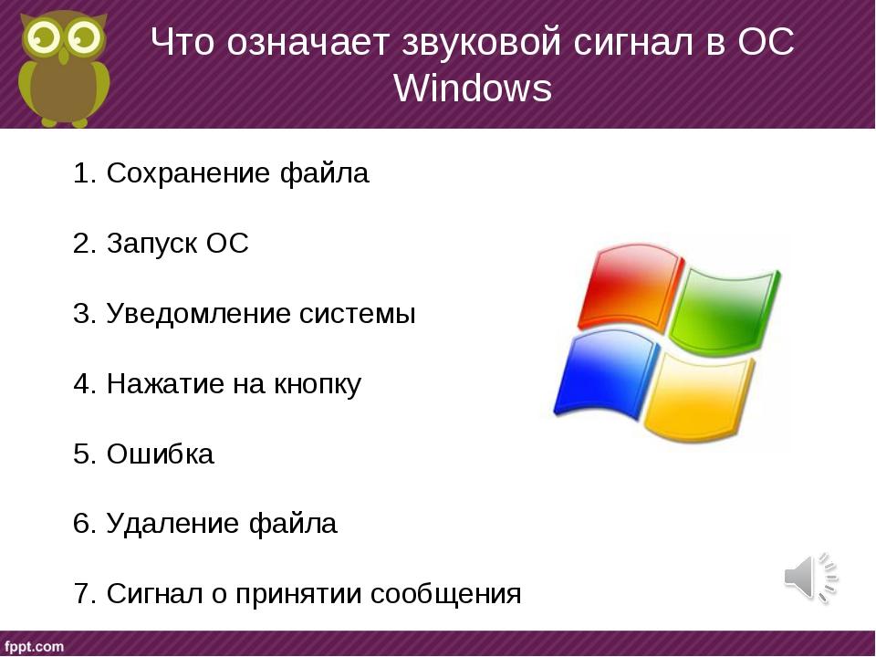 Что означает звуковой сигнал в ОС Windows Сохранение файла Запуск ОС Уведомле...