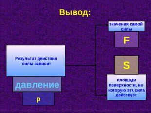 Вывод: Результат действия силы зависит значения самой силы площади поверхност