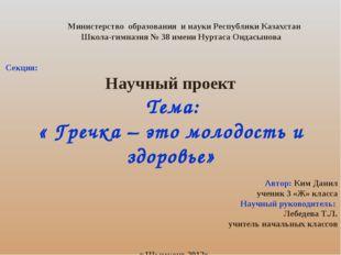 Министерство образования и науки Республики Казахстан Школа-гимназия № 38 им