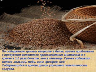 По содержанию ценных веществ в белке, гречка приближена к продуктам животного