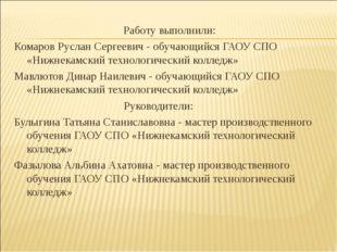 Работу выполнили: Комаров Руслан Сергеевич - обучающийся ГАОУ СПО «Нижнекамск