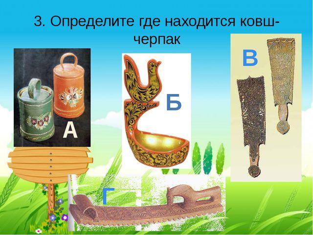 3. Определите где находится ковш-черпак А Б В Г