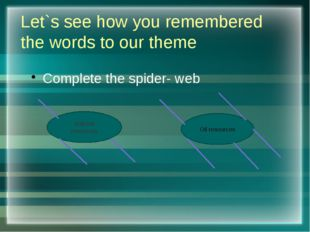 Let`s see how you remembered the words to our theme Complete the spider- web