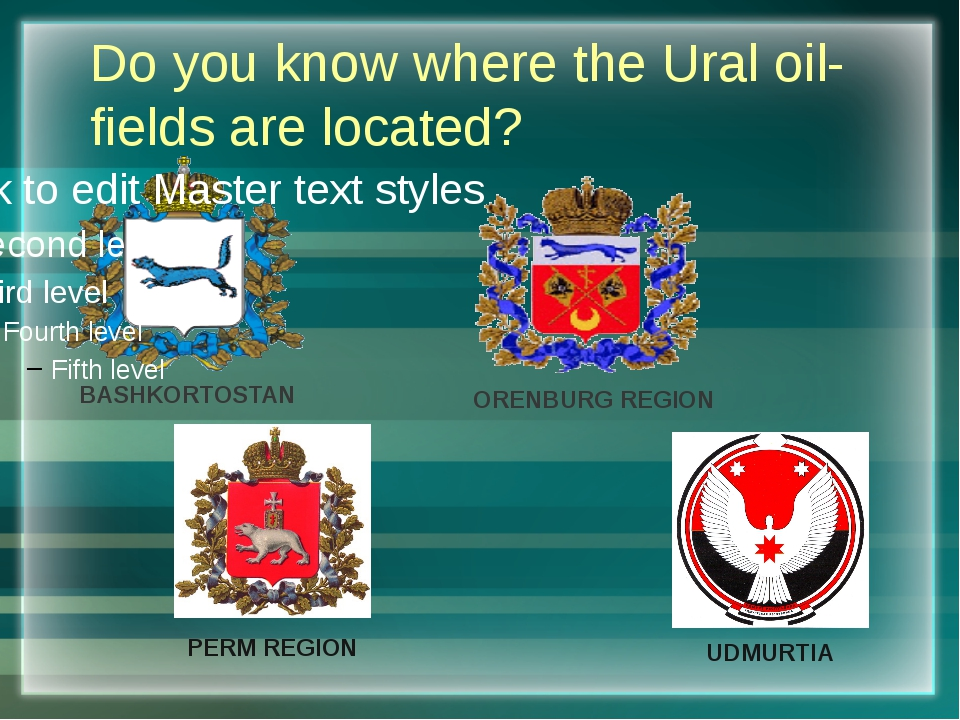 Do you know where the Ural oil-fields are located? BASHKORTOSTAN ORENBURG REG...