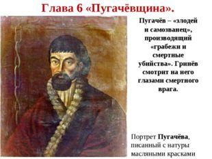 Глава 6 «Пугачёвщина». Пугачёв – «злодей и самозванец», производящий «грабеж