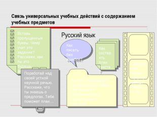 Связь универсальных учебных действий с содержанием учебных предметов Русский