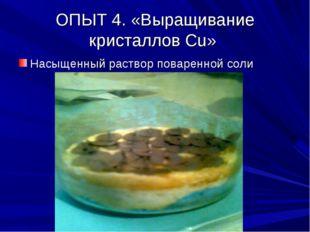 ОПЫТ 4. «Выращивание кристаллов Сu» Насыщенный раствор поваренной соли