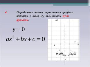 4. Определить точки пересечения графика функции с осью Ох, т.е. найти нули фу
