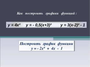 Как построить графики функций : Построить график функции у = - 2х² + 4х - 1