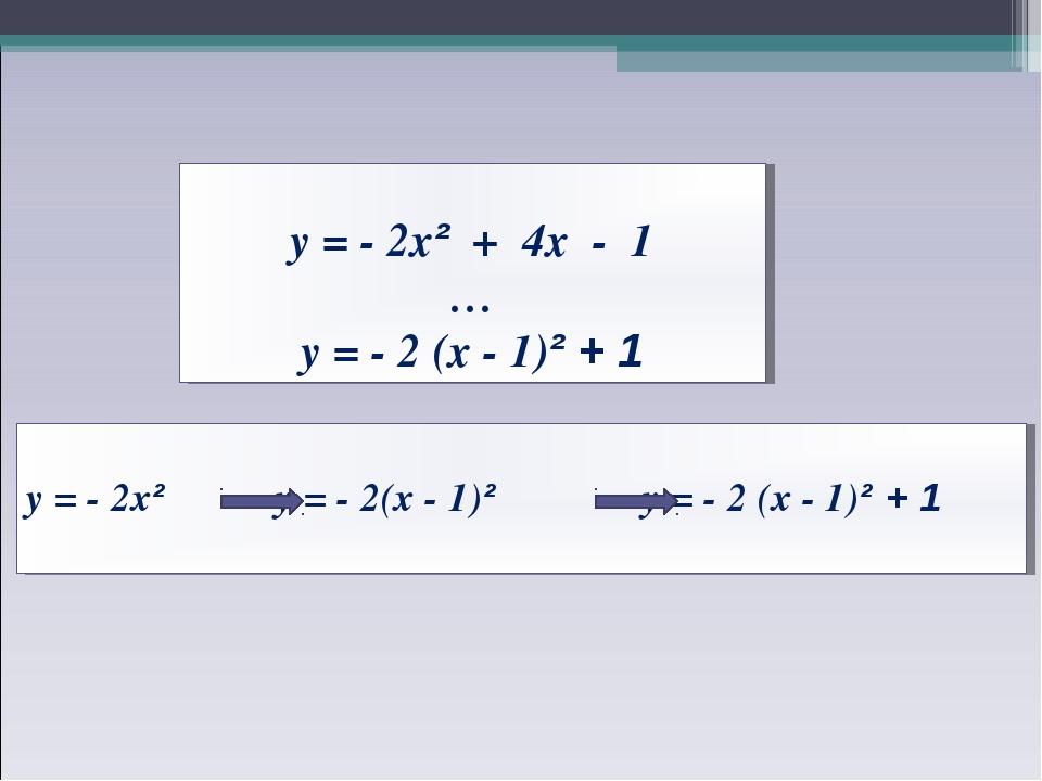 у = - 2х² + 4х - 1 … у = - 2 (х - 1)² + 1 у = - 2х² у = - 2(х - 1)² у = - 2...