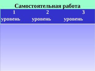 Самостоятельная работа 1 уровень 2 уровень 3 уровень 73-11=6274-60=1472-7