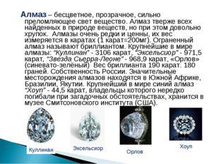 Алмаз – бесцветное, прозрачное, сильно преломляющее свет вещество. Алмаз тве