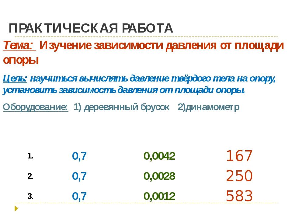 ПРАКТИЧЕСКАЯ РАБОТА Тема: Изучение зависимости давления от площади опоры Цель...