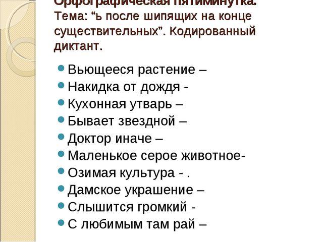 """Орфографическая пятиминутка. Тема: """"ь после шипящих на конце существительных""""..."""