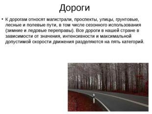 Дороги К дорогам относят магистрали, проспекты, улицы, грунтовые, лесные и по