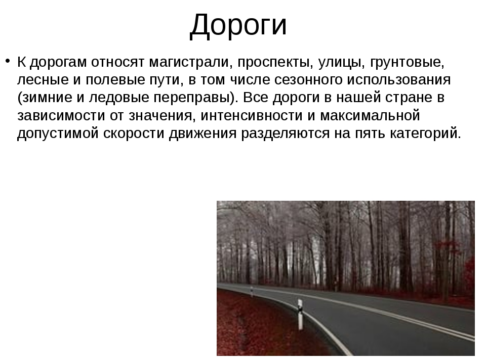 Дороги К дорогам относят магистрали, проспекты, улицы, грунтовые, лесные и по...