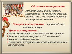 Объектом исследования является улица имени Клавдии Григорьевны Панчишкиной с
