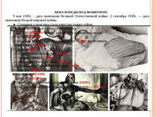 ЦЕНА ПОБЕДЫ НАД ФАШИЗМОМ. 9 мая 1945г. – дата окончания Великой Отечественной