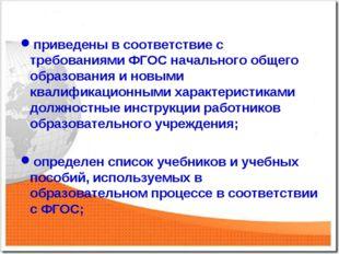 приведены в соответствие с требованиями ФГОС начального общего образования и