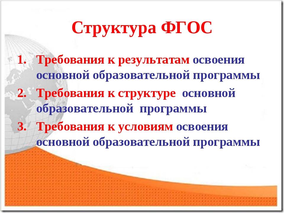 Структура ФГОС Требования к результатам освоения основной образовательной про...