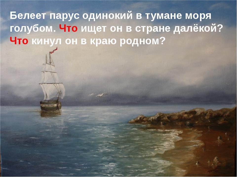 Белеет парус одинокий в тумане моря голубом. Что ищет он в стране далёкой? Чт...