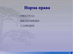 ГИПОТЕЗА ДИСПОЗИЦИЯ САНКЦИЯ