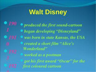 Walt Disney 1901 1910 1923 1928 1932 1950 produced the first sound-cartoon be