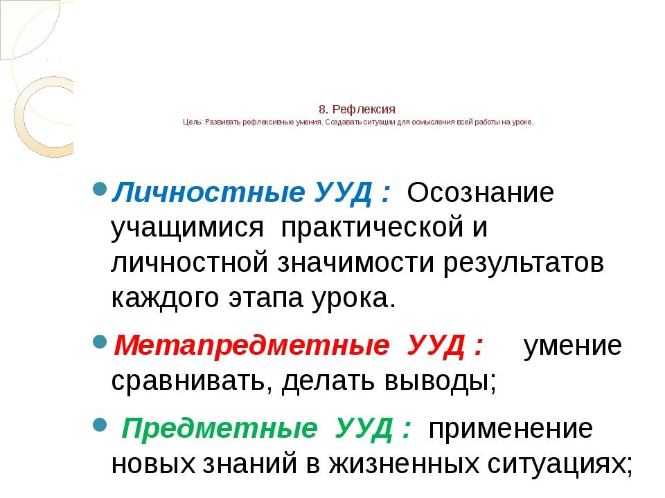 8. Рефлексия Цель: Развивать рефлексивные умения. Создавать ситуации для осмы...