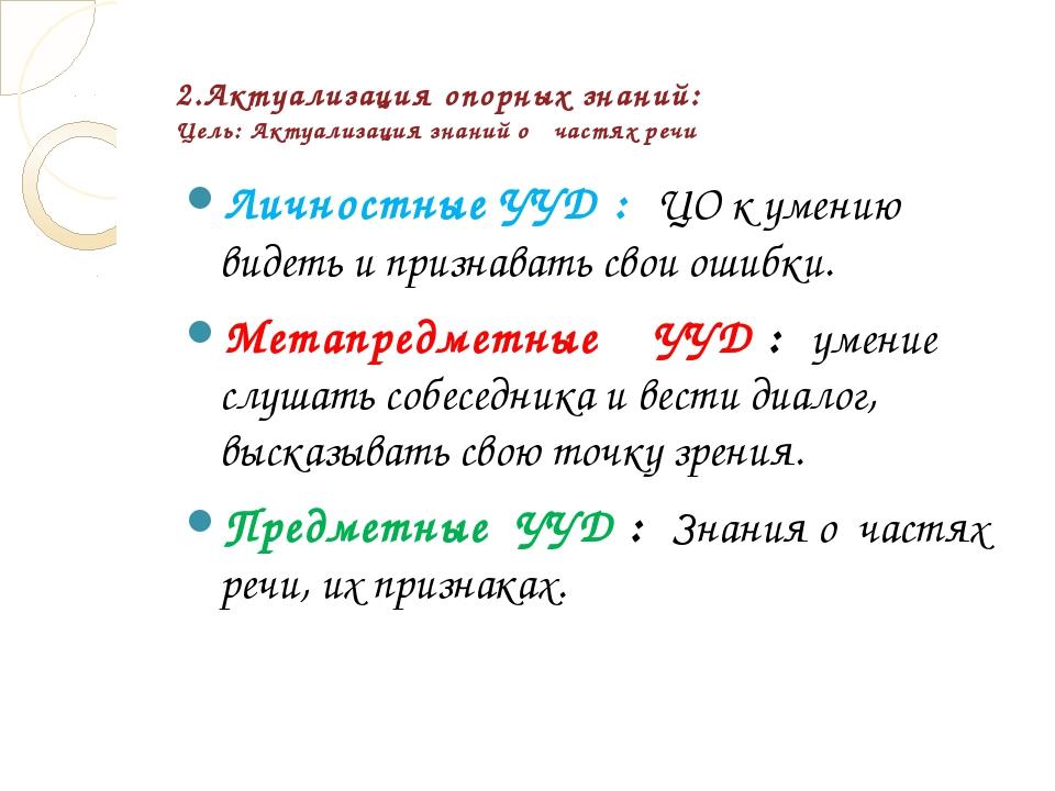 2.Актуализация опорных знаний: Цель: Актуализация знаний о частях речи Личнос...