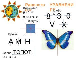 Цифры 8 3 0 V X А М Н Буквы: Слова: ТОПОТ, АННА Равенство = УРАВНЕНИЕ? Фигур