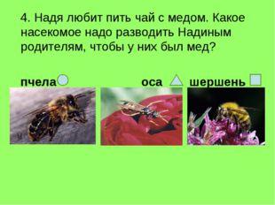 4. Надя любит пить чай с медом. Какое насекомое надо разводить Надиным родит