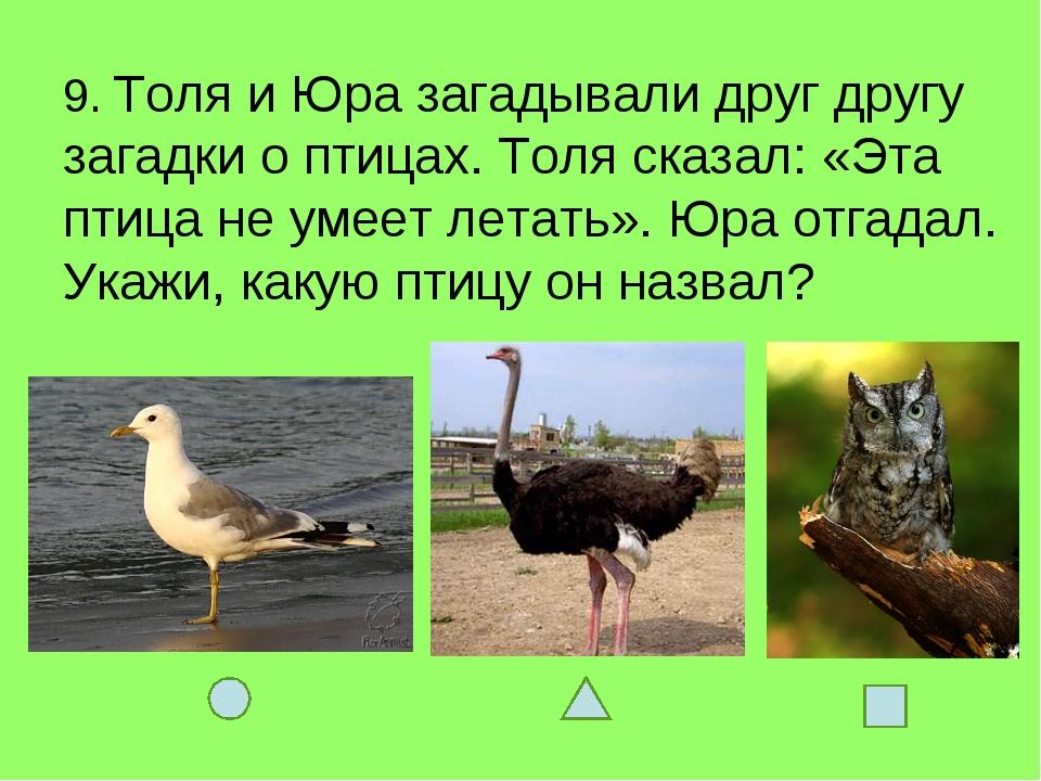 9. Толя и Юра загадывали друг другу загадки о птицах. Толя сказал: «Эта птица...