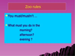 You must/mustn't … What must you do in the morning? afternoon? evening ? Zoo