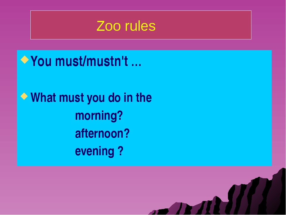You must/mustn't … What must you do in the morning? afternoon? evening ? Zoo...